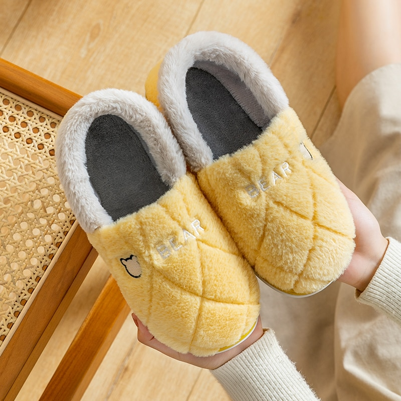 Winter Women's Home Slippers Lady Warm Plush Cover Heel Plaid Shoes Couple Indoor Clogs Non-slip Memory Foam Slip-On Flat Slides