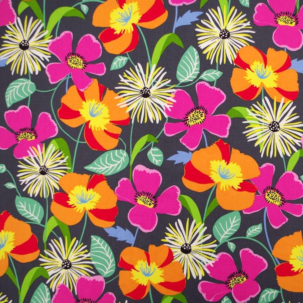 1 yarda de tela tejida de algodón para costura de caminos, vestidos, telas, ropa de cama, fabricación de Hades, flores y hojas (ancho = 140 cm)