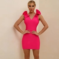 bandage dress for women 2021 pink bodycon dress summer ruffle short sexy party dress evening cocktail birthday club outfits