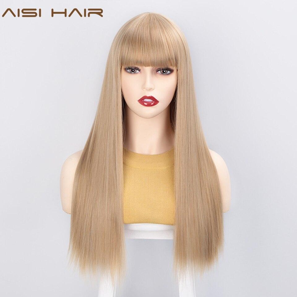 AISI HAAR Lange Gerade Synthetische Perücken mit Pony Honig Blonde Perücke für Frauen Amerikanischen Natürlich Aussehende Haar Hitze Beständig Perücke