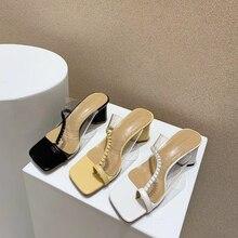 Women Summer Slippers Clip Toe Transparent Sandals Slides Mules Shoes Block High Heels Slippers Flip Flops Black/Yellow/White
