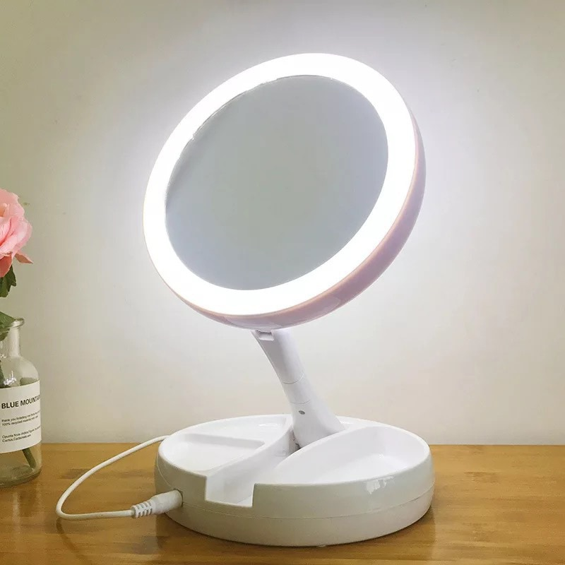 Foldable LED Lamp Makeup Mirror Round Shape Desktop Portable Circular Multifunctional 10 Times Magnification Double-Sided Mirror