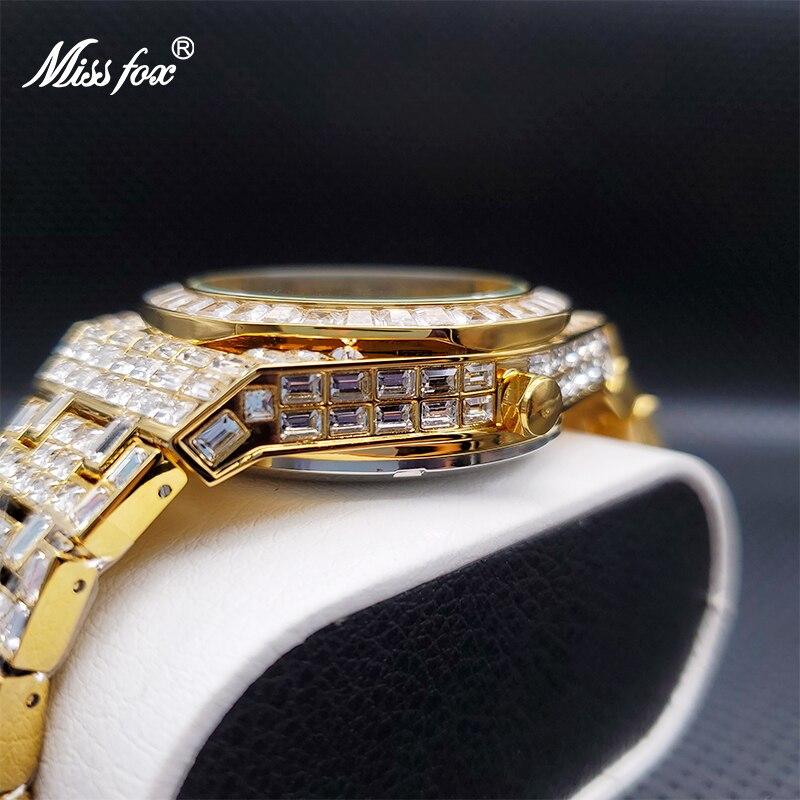 Relogio Masculino de Luxo MISSFOX Ice Out Baguette Stones Automatic Men's Mechanic Watches Top Brand Orologio Automatico Uomo enlarge
