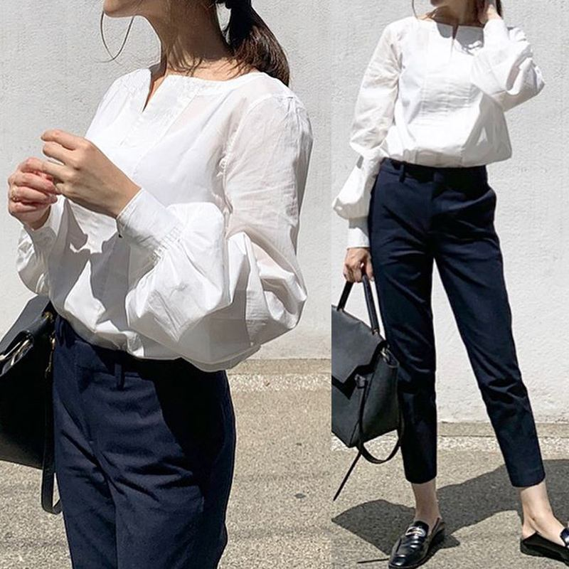 5xl moda feminina topos celmia elegante ol manga longa lanterna blusa 2020 outono com decote em v feminino sólido camisas casuais soltas blusas 7