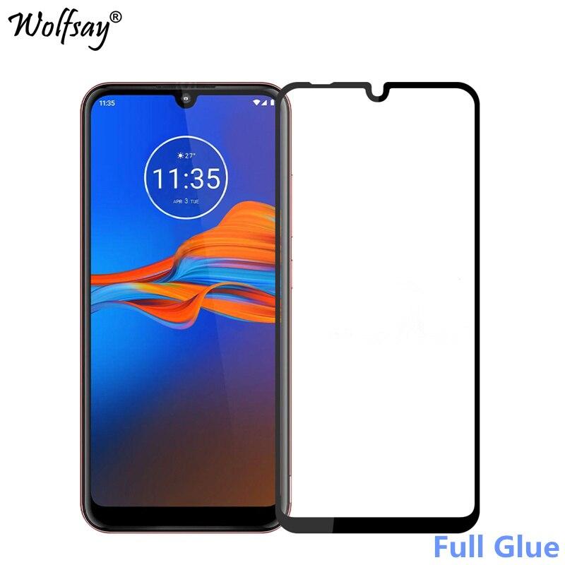 1 Uds Protector de pantalla de pegamento completo para Moto E6 Plus cristal templado Motorola E6S funda completa para Moto E6 Plus 9H 2.5D película de calidad suprema