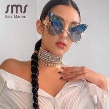 Sen Maries Butterfly occhiali da sole senza montatura donna Luxury Brand Designer moda occhiali da sole Steampunk oversize occhiali Vintage UV400