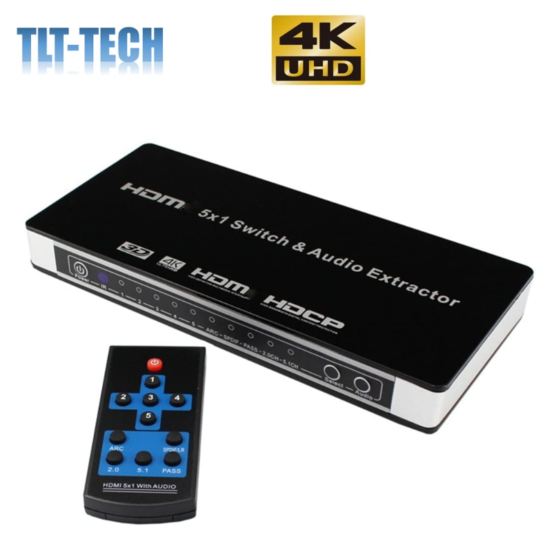 HDMI-compatible Switch 5x1 Audio Extractor Switcher 4Kx2K 3D 5 Port HDMI-compatible Audio Extractor Switch Converter for PS4 enlarge