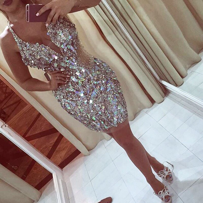 Mini vestidos coquetel de cristal 2020, sexy, frisado, curto, para festa de casamento, bainha chique, de baile