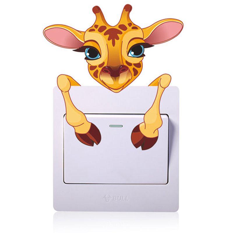 Förderung! Nette Tiere Giraffe Licht Schalter Aufkleber Remoable Wand Aufkleber Für Kinder Home Aufkleber Murla Decor