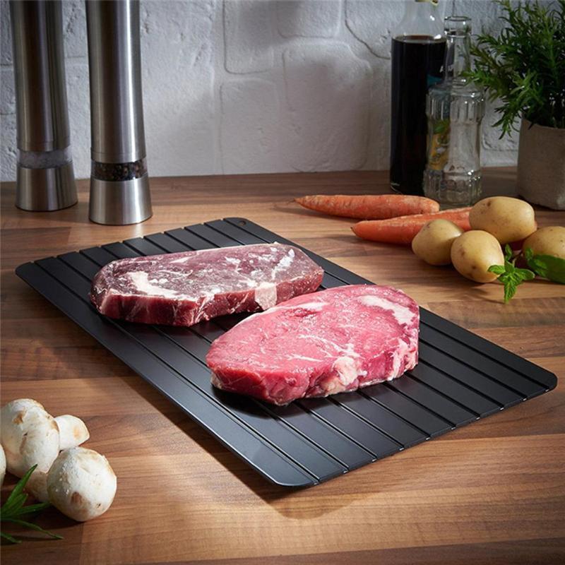 Bandeja de descongelación rápida, tabla de descongelación rápida, bandeja para descongelar comida, carne, pescado de cerdo, bandeja para descongelar alfombrilla para microondas Gadgets