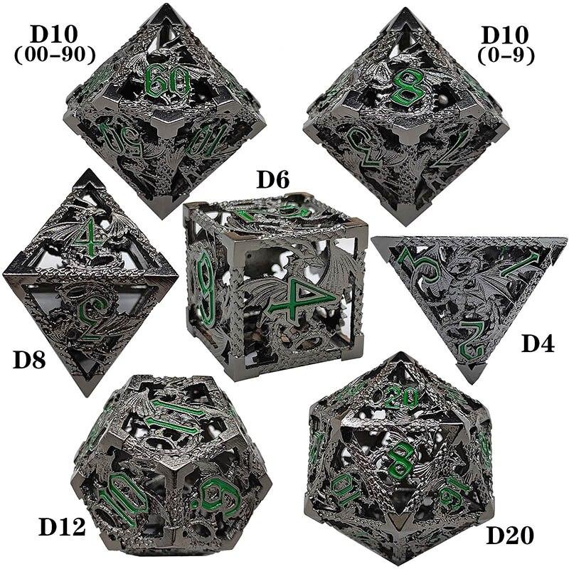 Игральные кости DND наборы многогранный D10 Дракон красочный D & D подземелье металлическая ролевая коробка настольные игры D6 D12 MTG D20 аксессуары...