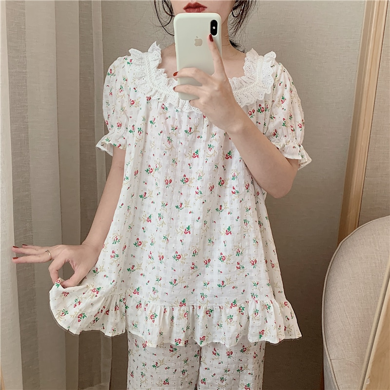summer floral print short sleeve top+trousers suit women sweet cotton lace pajamas set square collar ruffle casual homesuit plus allover bird print ruffle sleeve top