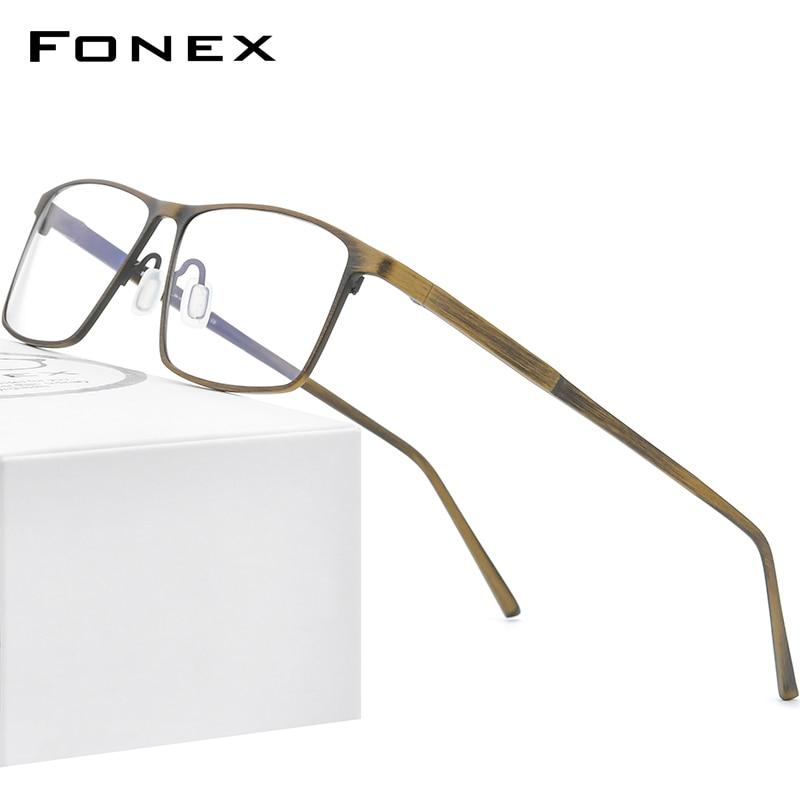 FONEX Pure Titanium Glasses Frame Men Retro Vintage Square Eyewear 2020 New Prescription Optical Myopia Eyeglasses Frames 8552