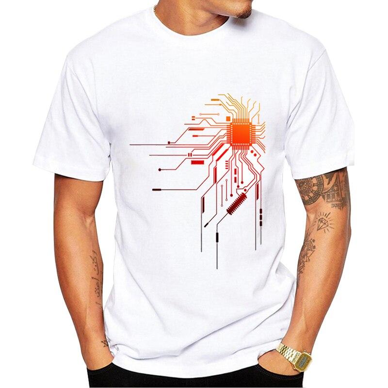 T camisa de manga curta harajuku t camisa masculina computador cpu núcleo coração camiseta dos homens geek nerd freak hacker pc gamer t verão
