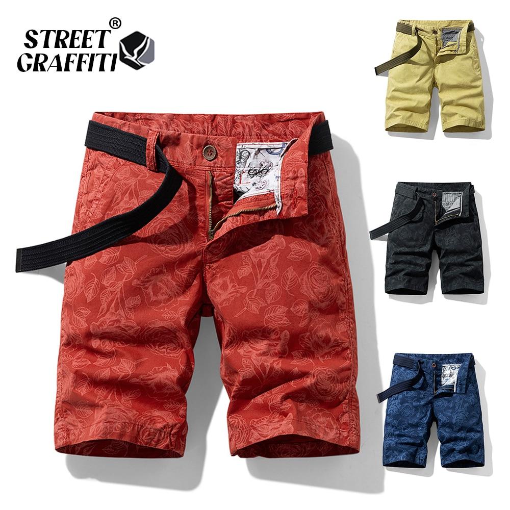 2021 New Spring Men Cotton Print Men's Shorts Clothing Summer Casual Breeches Bermuda Fashion Jeans For Beach Pants Men Short