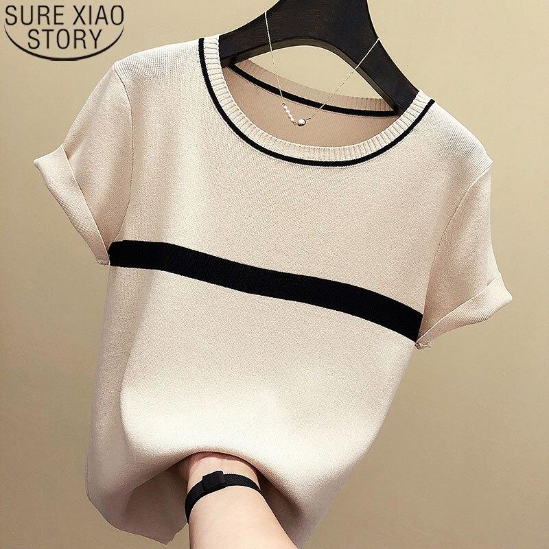 Camisa de punto fino para mujer, verano 2020, camisetas de manga corta para mujer, Tops de cuello redondo, ropa blanca coreana, blusa informal de mujer, Blusas 8781 50
