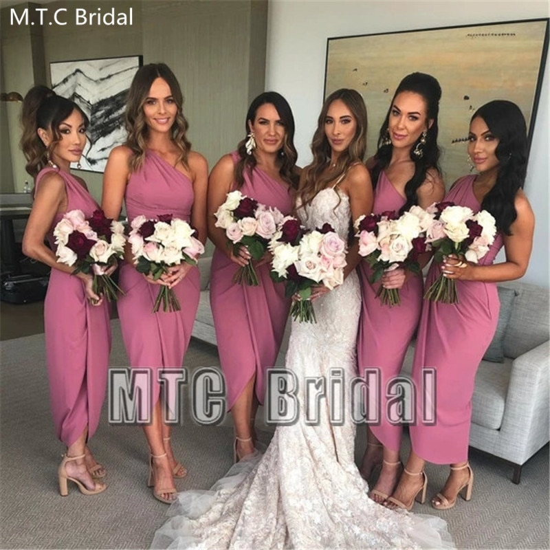 Short Dusty Rose Bridesmaid Dresses One Shoulder Sheath Plus Size Maid Of Honor Wedding Party Dress Customize Wedding Guest Gown