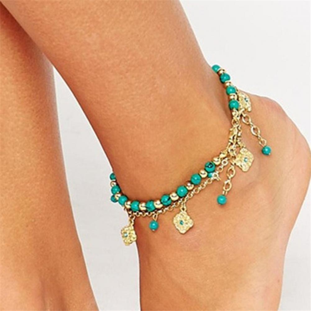 ethnic faux turquoise butterfly bead bracelet for women 70% Dropshipping!!2Pcs/Set Ankle Bracelet Faux Crystal Adjustable Alloy Bohemian Faux Turquoise Bead Beach Anklet for Beach