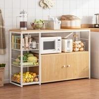 household wooden kitchen shelf floor multi layer microwave oven pot shelf kitchen supplies household storage storage basket