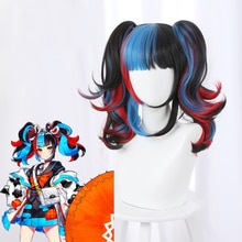 Fashion Order Sei Shonagon Cosplay Wig Black Blue Red Mixed Curly Heat Resistant Synthetic Hair Part