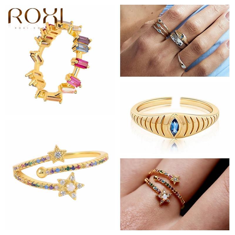 Золотые кольца ROXI с красочными кристаллами и звездами для женщин, 2021 дюйма, модные кольца на палец с камнем неправильной формы, кольца