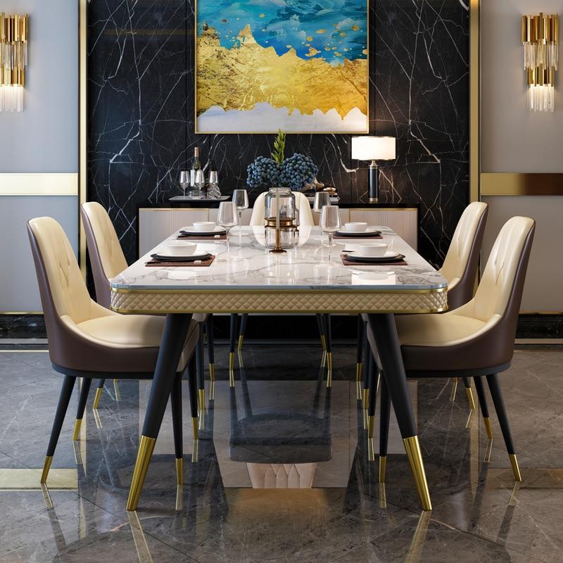 الايطالية الفاخرة تصميم قرص من الرخام للمنضدة طقم طاولة عشاء 8 مقاعد مع سيقان معدنية