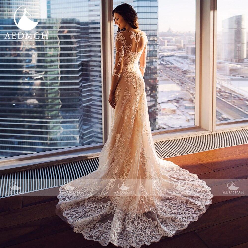Aedmgh Mermaid Wedding Dresses 2021 Sweetheart Three Quarter Vestido De Novia Beaded Appliques Sheath Sweep Train Robe De Mariee