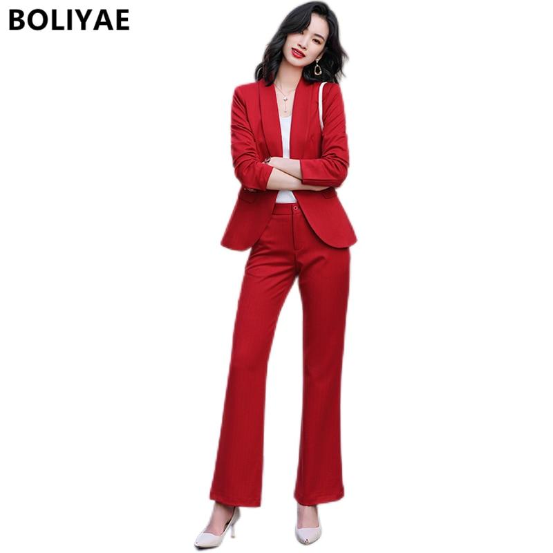 Весенне-осенние профессиональные брючные костюмы Boliyae офисные деловые блейзеры женские персиковые элегантные стильные костюмы из куртки и...