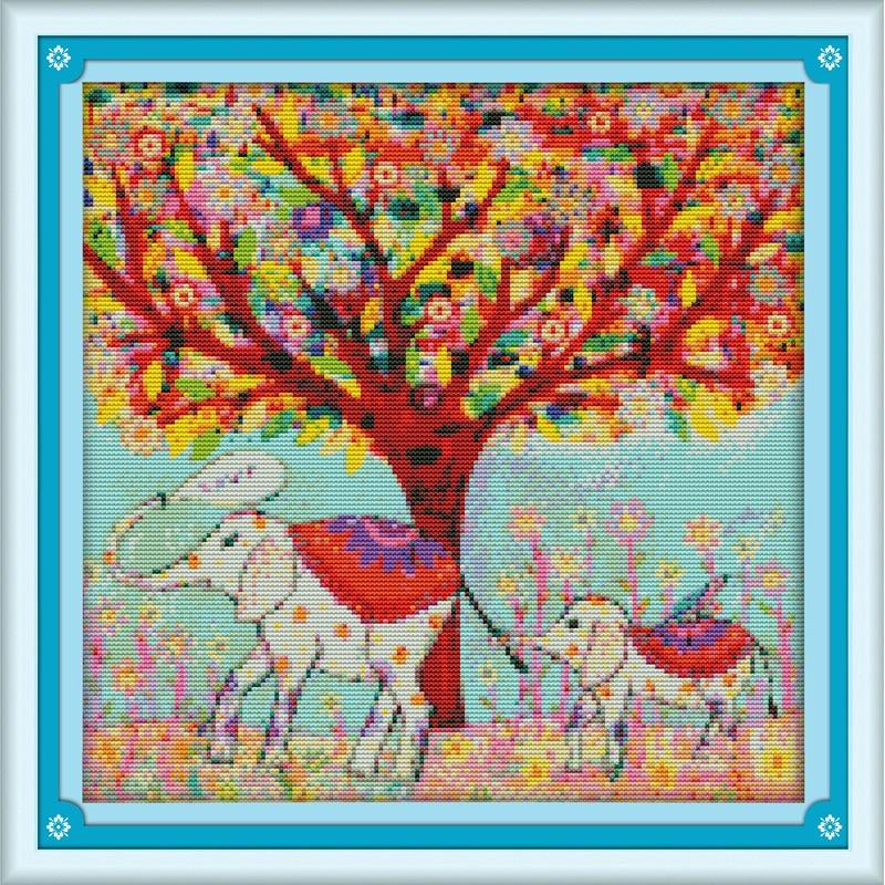 Kits de punto de cruz chinos de algodón ecológico para Primavera (9) con estampado de 11 CT de promoción de año nuevo amor eterno de Navidad