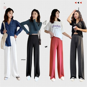 Spring and summer loose casual pants knitted wild women's pants high waist drape wide leg pants female trousers Casual Leggings