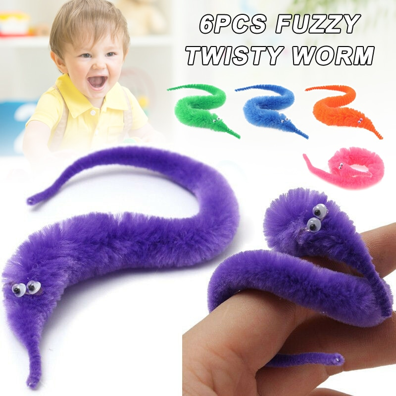 6 Pcs Fuzzy Twisty Worm Wiggle Moving Sea Horse Soft Toy Gift for Children Kids SLC88