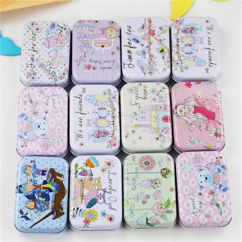 36 unids/lote Mini Cute Kawaii Cartoon Tin Metal caja organizador de almacenamiento hogareño para joyería niños juguete regalo hogar suministros