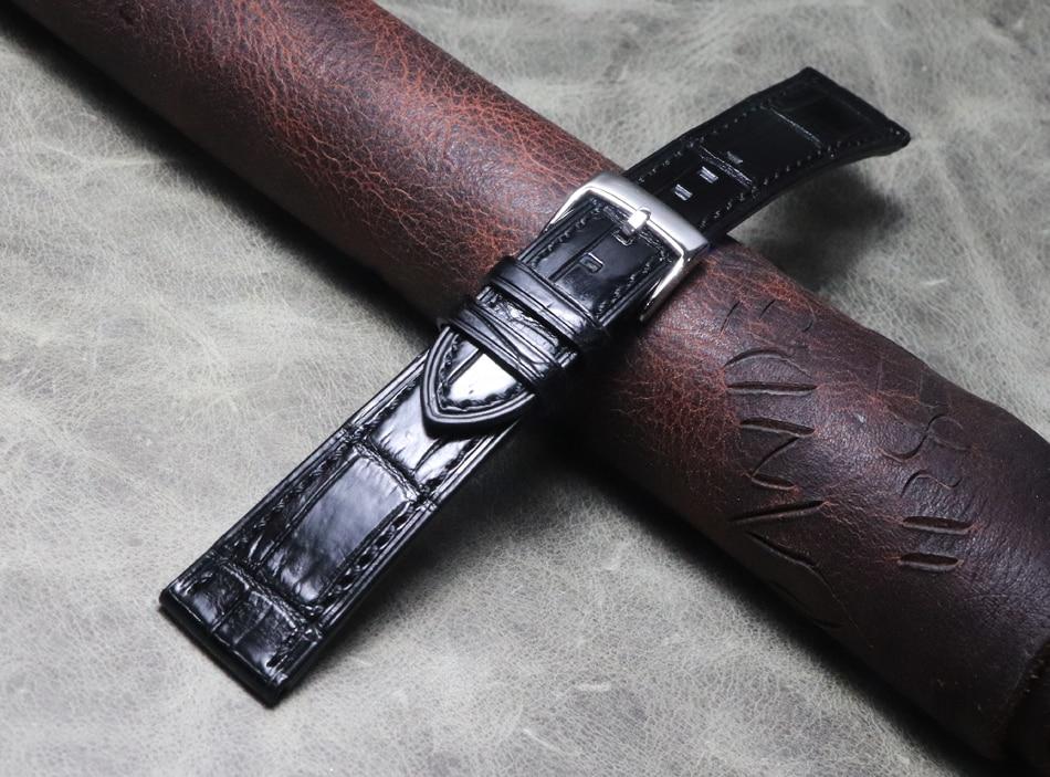 Pele de Crocodilo Relógio de Luxo Pulseira de Alta Artesanal Genuína Correia Pulseira Couro Jacaré Qualidade 16mm Fivela 19 20mm