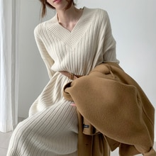 New pattern Women Autumn Winter Sexy V Neck Long Sleeve Knitted Sweater Dress Long Sleeve Straight C