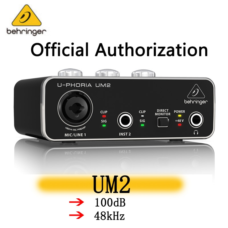 Behringer UM2 audio interface soud card audio recording equipment Guitar Recording External USB for Celebrity Live Broadcast