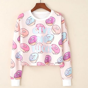 Women Long Sleeve Hoodie Summer Fast Dry Crop Top Sweatshirt Crew Neck Cartoon Graphic Running Exercise Shirt Fashion Outfit
