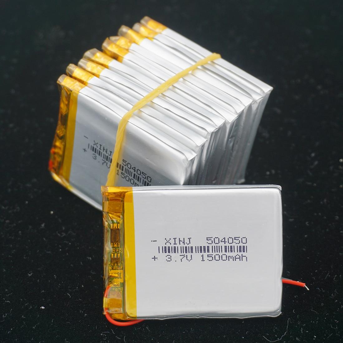 XINJ 10pcs 3.7V 1500mAh Li bateria de polímero de lítio célula de bateria li po 504050 Para GPS Sat Nav DIY câmera E-book gravador de condução