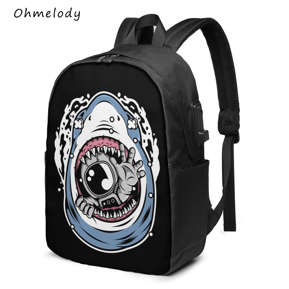 Durable Middle School College Backpack Water Resistant Casual Daypack Cartoon Astronaut Multipurpose