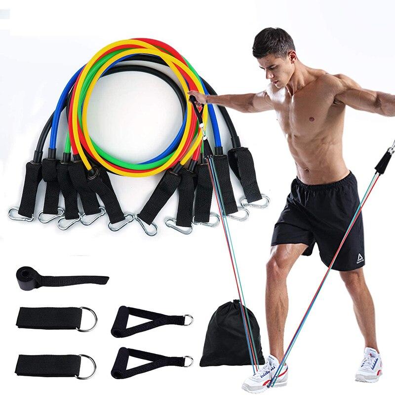 11 pçs pçs/set faixas de resistência crossfit treinamento exercício tubos yoga puxar corda borracha expansor bandas elásticas fitness 2020 novo