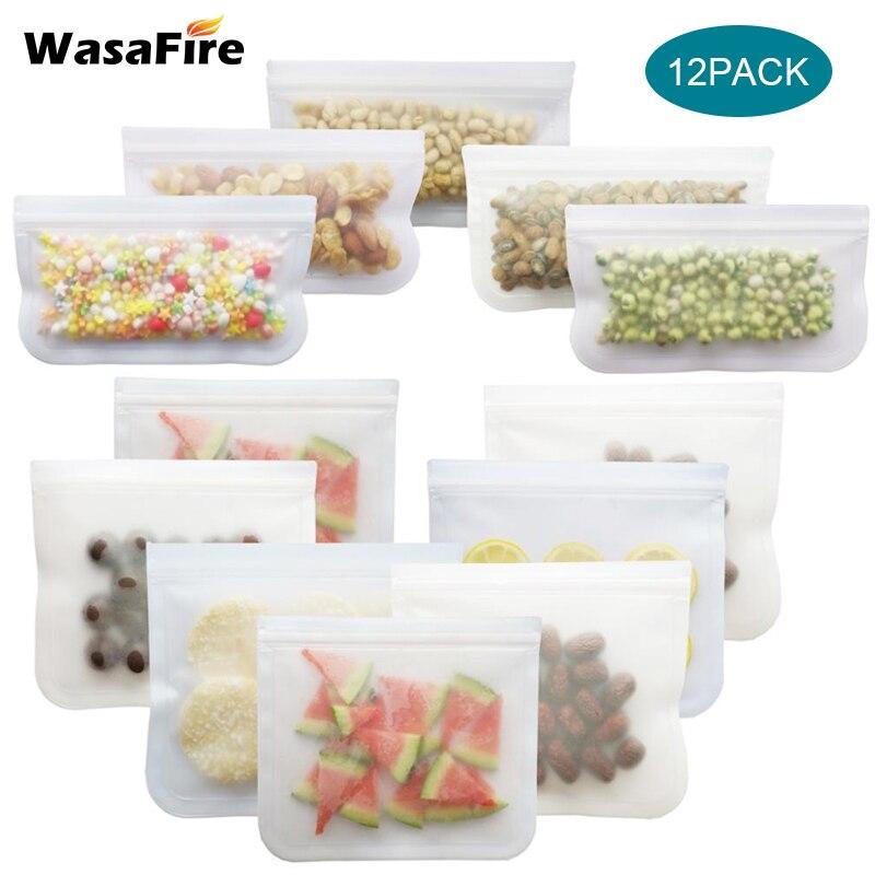 Sacola de preservação de comida peva fosca 12 tamanhos, reutilizável, saco para congelar vegetais, frutas e frescas, à prova de vazamento, armazenamento com vedação