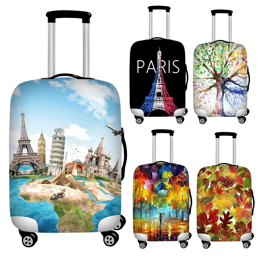 Twoheartsgirl estiramiento París impresión viaje equipaje cubiertas impermeable maleta cubierta para 18 -32 Trunk Case accesorios de viaje