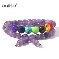 7 chakra bracelet double layer row adjustable unisex yoga stone energy healing natural stone beads bracelets xmas gift