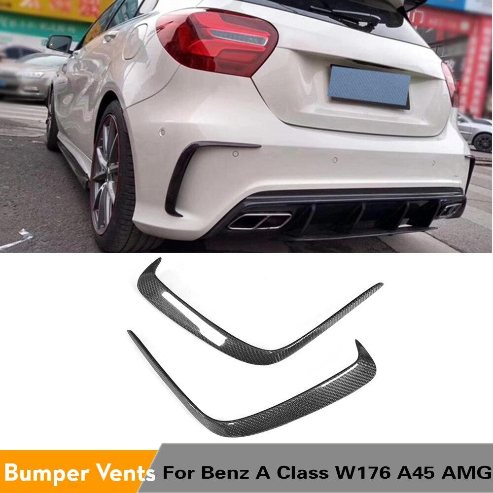 For A Class A45 AMG Car Rear Bumper Air Vent Trim Dam Fender Canards for Mercedes-Benz W176 A180 A200 A250 Sport Carbon Fiber