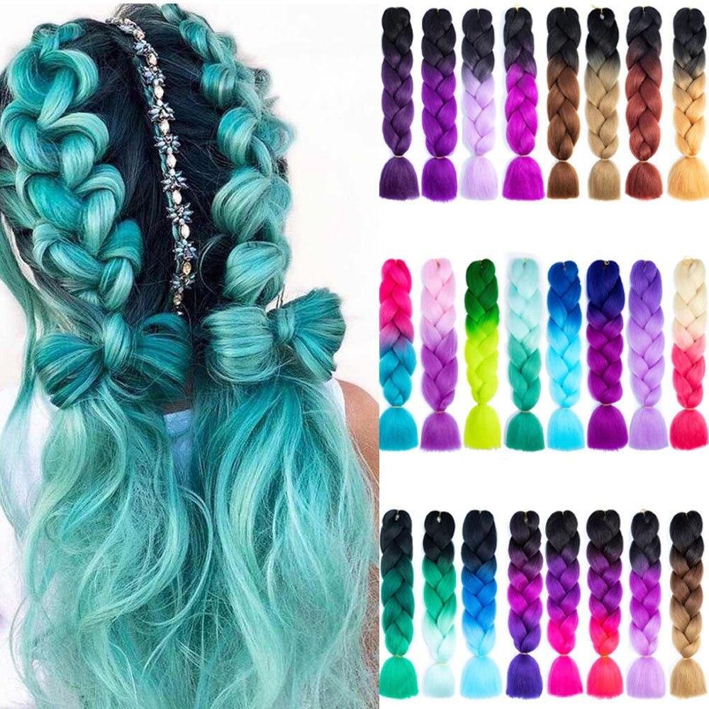 Джамбо косички для наращивания волос Омбре плетение крючком синтетические волосы Yaki плетение волос для черных женщин светлые красные розо...