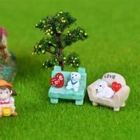 dog on benchcouch resin miniature desktop ornament figurine doll garden decor micro landscape f2