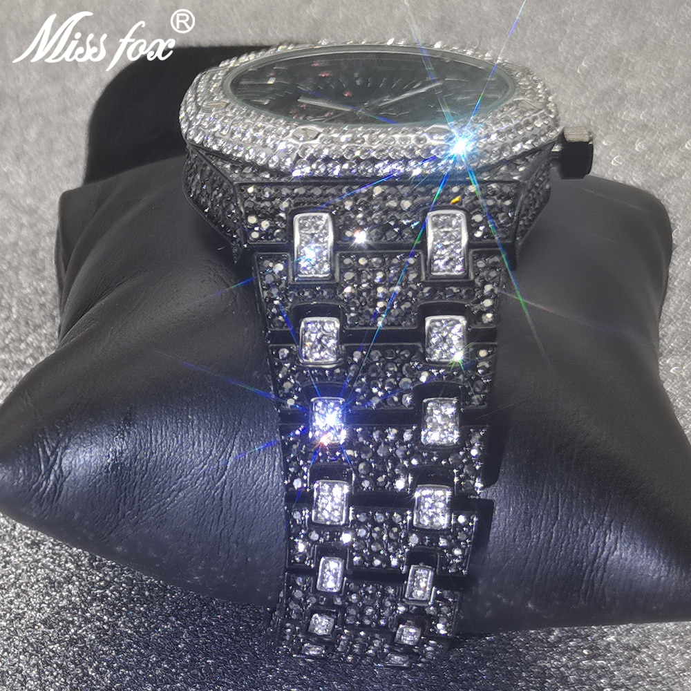 Hip Hop MISSFOX Mechanical Mens Watches Automatic Luxury Iced Out Black Watch Full Steel Diamond Hollow Business Jewelry Clocks enlarge