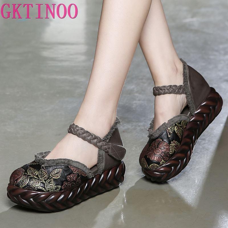 GKTINOO 2021 الربيع الأحذية اليدوية منصة أسافين النساء مضخات زهرة مطرزة جلد طبيعي النساء أحذية عالية الكعب غير رسمية