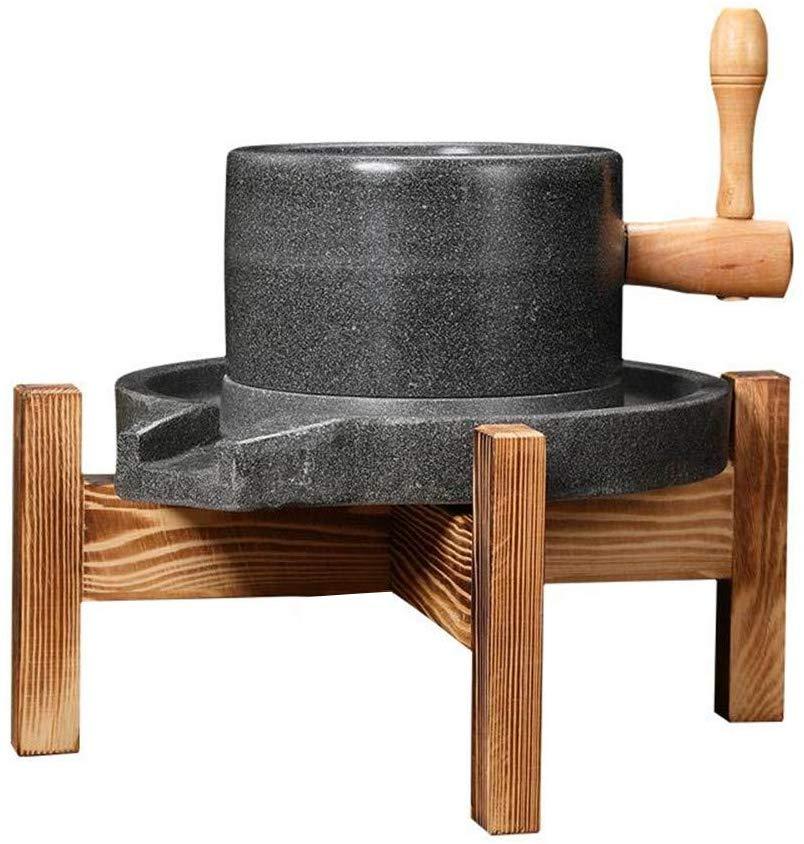 مطحنة الجرانيت اليدوية الطبيعية السلس/طاحونة مع حامل خشبي يستخدم للأغذية والحبوب والتوابل