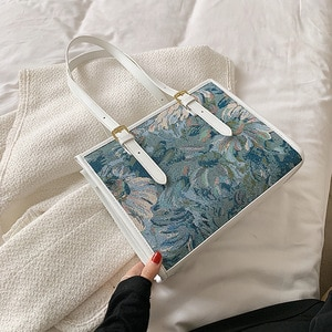 Canvas PU Leather Oil Painting Graffiti Shoulder Tote Bags For Women Large Capacity Bags Female Handbags And Purses Trend Winter