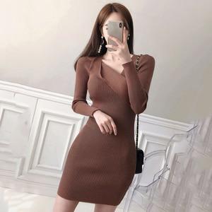 Autumn Knitting Cotton Dress Women Long Sleeve v-neck Sheath Mini Dress Winter Warm Slim Pullovers Sweater Dress